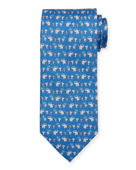 Salvatore Ferragamo Elephant & Mouse Printed Tie, Light