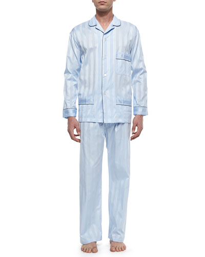 Tonal-Stripe Pajama Set, Light Blue