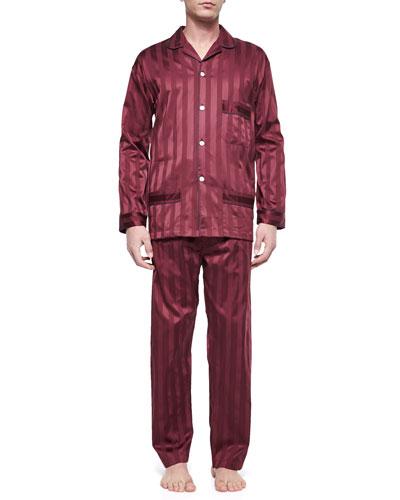 Tonal-Stripe Pajama Set, Burgundy