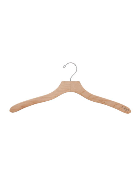 "19"" Wooden Shirt Hangers, Natural Finish, Set of 5"