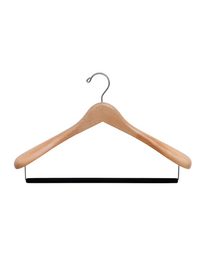 "15.5"" Luxury Wooden Suit Hanger, Natural Finish"