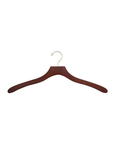 "19"" Wooden Shirt Hangers, Traditional Finish, Set of 5"
