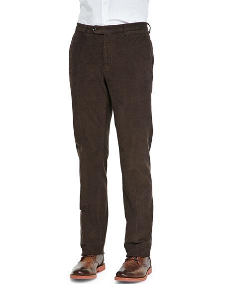 Incotex Fine-Wale Corduroy Trousers, Chocolate