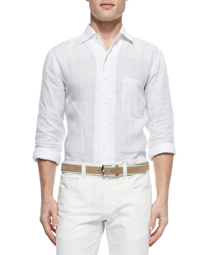 Andre Long-Sleeve Linen Shirt, White