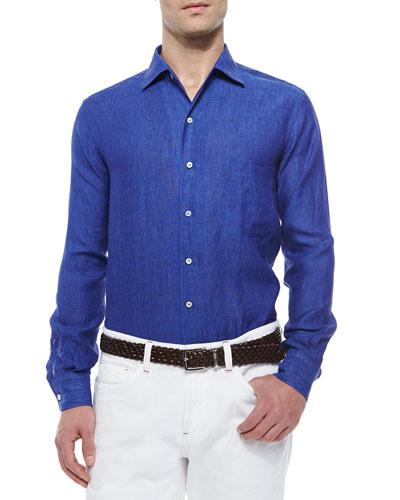 Andre Linen Sport Shirt, Royal Blue