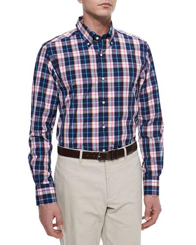 Long-Sleeve Plaid Sport Shirt, Blue/Pink/Orange/White