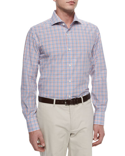 Long-Sleeve Tattersall Sport Shirt, Navy/Blue/Orange