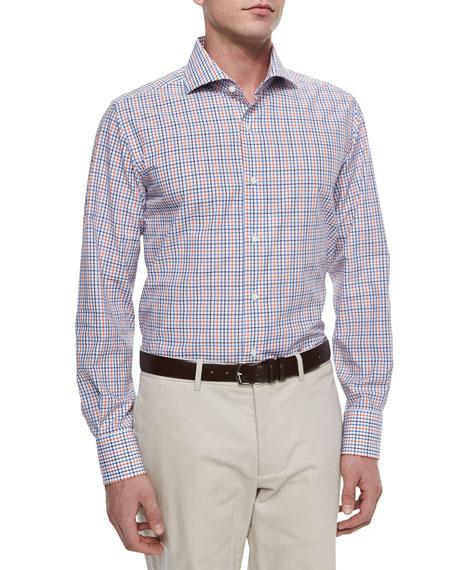 Neiman Marcus Long-Sleeve Tattersall Sport Shirt, Navy/Blue/Orange