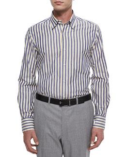 Long-Sleeve Striped Sport Shirt, White/Navy/Yellow