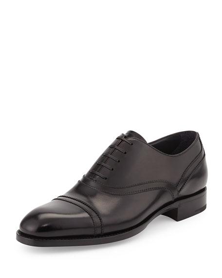 Ermenegildo Zegna Calfskin Cap-Toe Oxford, Black