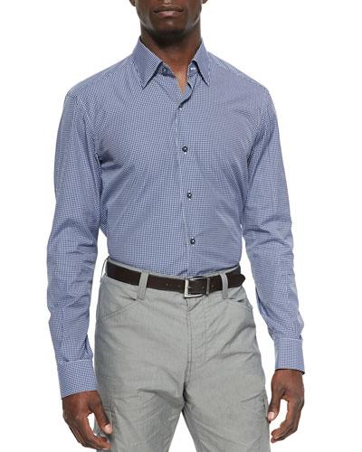 Linen Medallion-Print Sport Shirt
