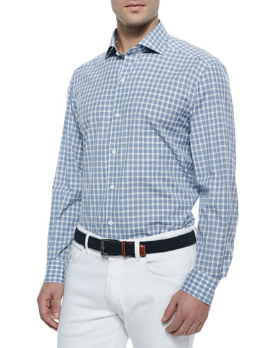Medium-Check Sport Shirt, Steel Blue/White