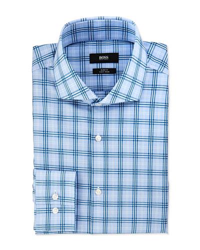 Slim Fit Easy Iron Majoica Windowpane Plaid Dress Shirt, Blue