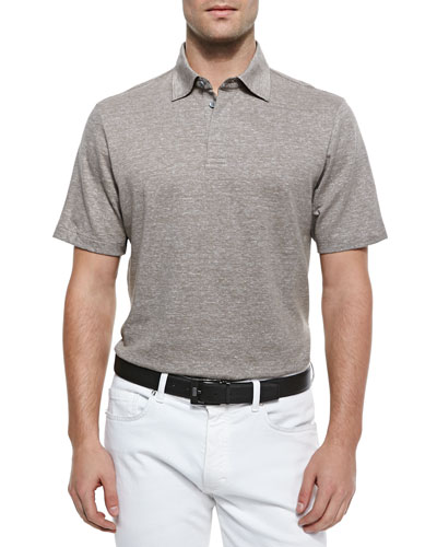 Spread Collar Polo Shirt, Beige