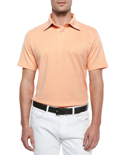 Spread Collar Polo Shirt, Orange
