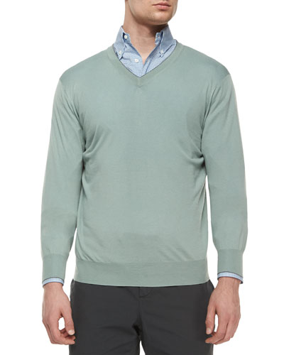 Knit V-Neck Sweater, Light Green