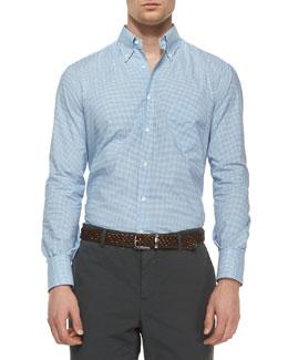 Tattersall Button-Down Shirt, Blue/Navy