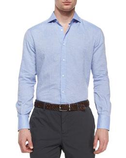 Solid Long-Sleeve Sport Shirt, Light Blue