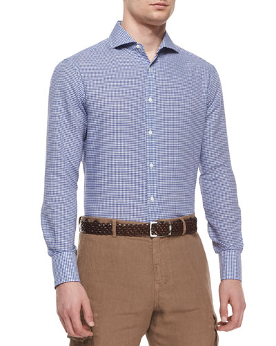Slim-Fit Gingham Sport Shirt, Navy