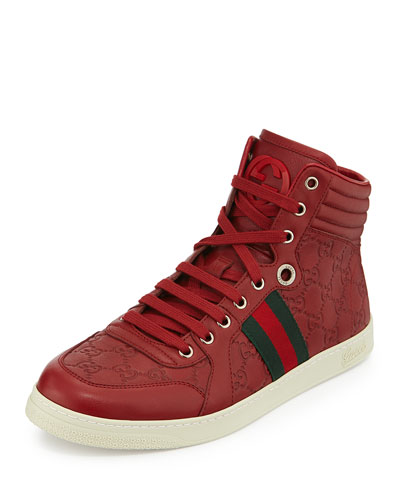 Gucci Leather High-Top Sneaker w/ Web, Red