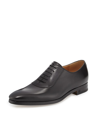 Leather Lace-Up Shoe, Black