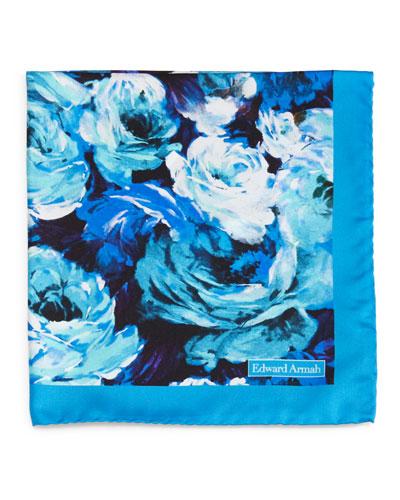 Floral-Pattern Silk Pocket Square, Aqua