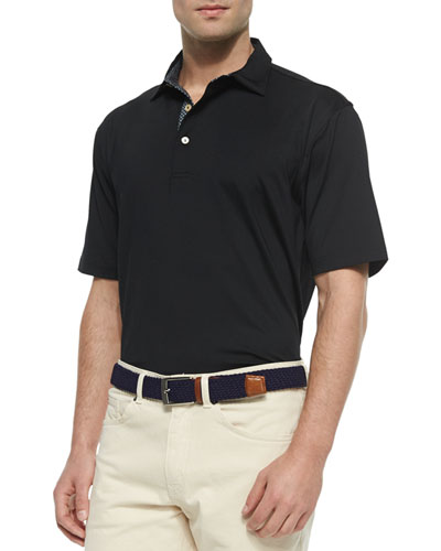 Contrast Placket Short-Sleeve Polo Shirt, Black