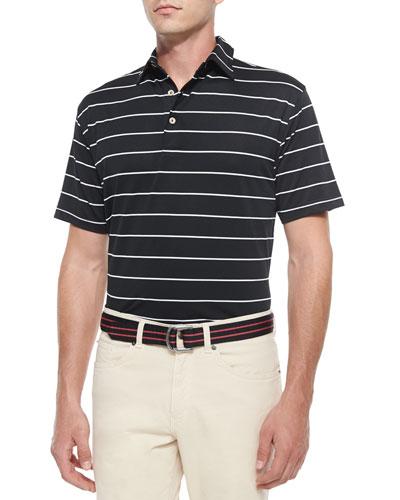 Striped Short-Sleeve Mesh Polo Shirt, Black/White
