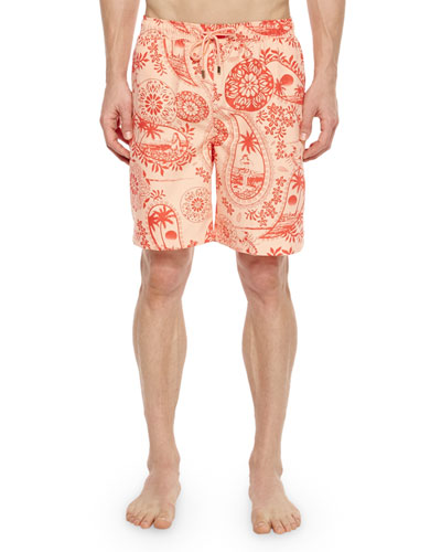 North Shore Printed Swim Trunks, Pink