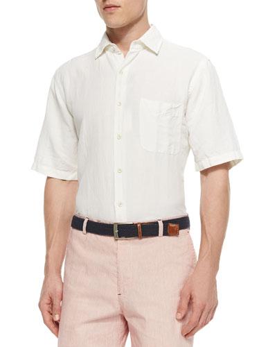 Solid Short-Sleeve Linen Shirt, White