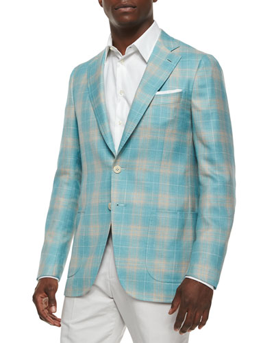 Plaid Cashmere-Blend Sport Coat, Seafoam/Tan