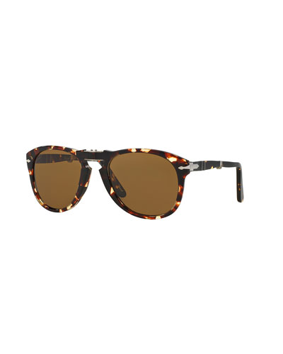 714-Series Foldable Acetate Sunglasses, Tobacco
