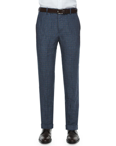 Parker Mini-Check Flat-Front Trousers, Brown/Blue