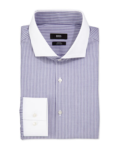 Slim Fit Easy Iron Striped Dress Shirt, Navy