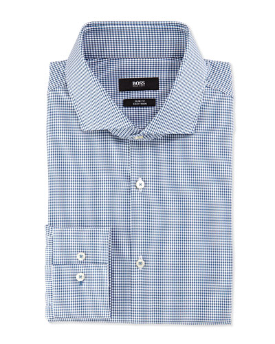 Slim Fit Easy Iron Mini-Check Dress Shirt, Teal/White