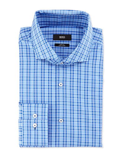 Slim Fit Easy Iron Sport Shirt, Blue on Blue Plaid