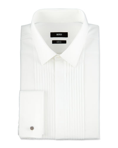 Slim Fit Two Ply Pleated Tuxedo Shirt, White