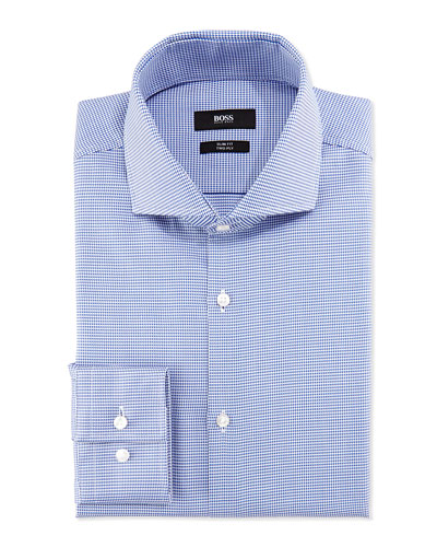 Slim-Fit Two-Ply Houndstooth Shirt, Navy/White