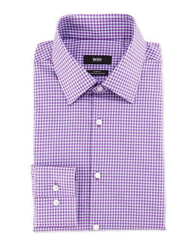 Slim Fit Egyptian Cotton Gingham Sport Shirt, Lavender