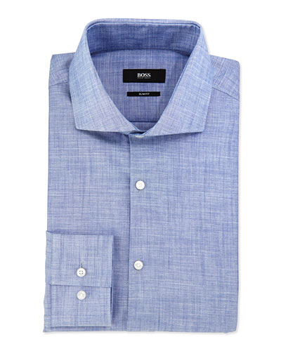 Slim-Fit End-On-End Sport Shirt, Blue
