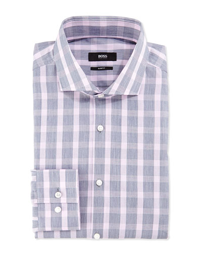 Slim-Fit Check Shirt, Gray/Pink