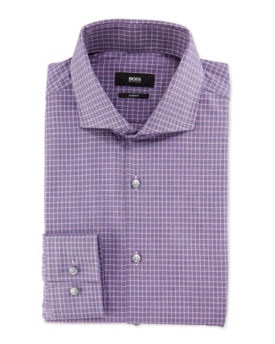 Slim-Fit End-on-End Check Shirt, Purple/Navy