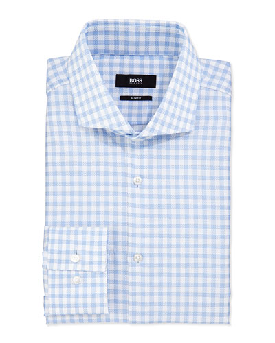Slim-Fit Textured Check Shirt, White/Blue