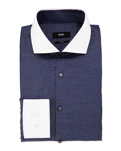 Slim-Fit Shirt with White Collar/Cuffs, Dark Chambray