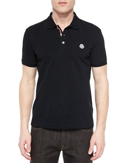 Moncler Short Sleeve Striped Placket Polo Shirt Black