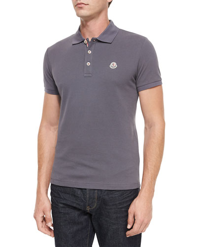 Short-Sleeve Striped-Placket Polo Shirt, Dark Gray