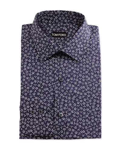 Classic Fit Mini-Floral Pattern Shirt, Navy