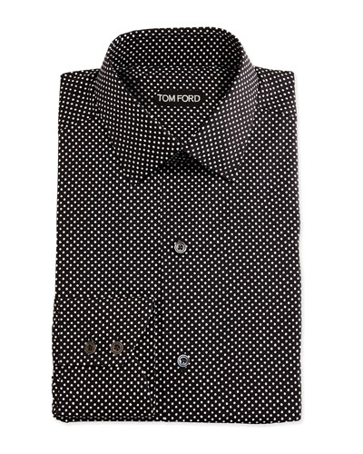 Dot-Print Shirt, Black/White