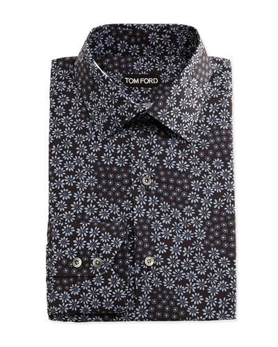 Classic Fit Multi-Floral Print Shirt, Black/Blue