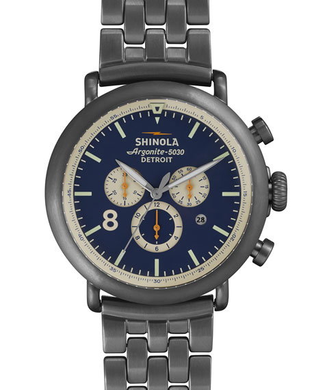 Shinola 47mm Runwell Chronograph Watch, Gunmetal